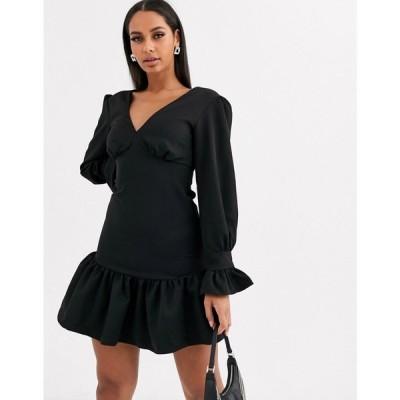 ココアンドケー Koco & K レディース ワンピース スケータードレス ワンピース・ドレス fluted hem long sleeve skater dress in black ブラック