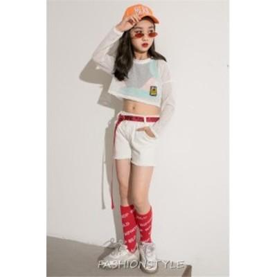 キッズ ダンス セットアップ ダンス衣装 ヒップホップ ダンスファッション ジャズ HIPHOP シャツ ショートパンツ タンクトップ