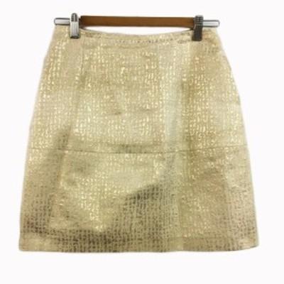 【中古】ストロベリーフィールズ STRAWBERRY-FIELDS スカート 台形 ミニ ラメ 総柄 ベージュ 金 ゴールド