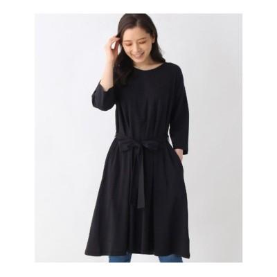 シューラルー SHOO-LA-RUE 【M-LL】スーピマ混ベルテッド8分袖ワンピース (ブラック)