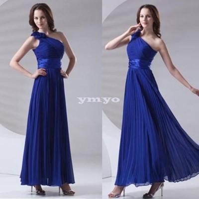 ドレス レディース パーティードレス ロングドレス シフォン ワンショルダー 花 エレガント 大きいサイズ ポイント消化