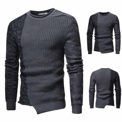 M L XL XXL男性用クルーネックニットセーターバイカラーメンズカットソー 細身ニットセーター 長袖ニットトップス グレーカジュアルセーター