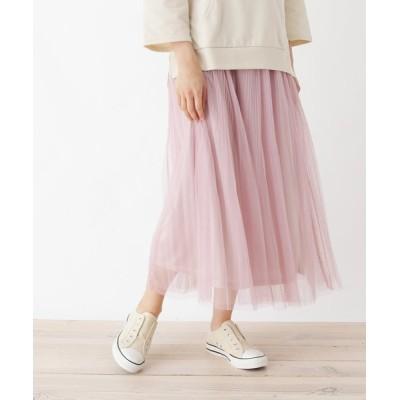 SHOO・LA・RUE / 【M-L】チュールプリーツマキシスカート WOMEN スカート > スカート