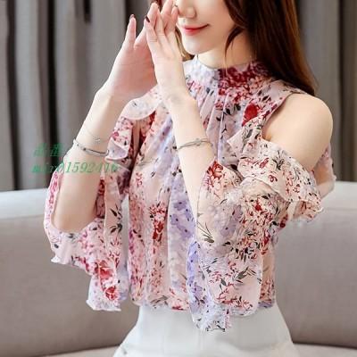 ブラウス 春夏 半袖 上品 トップス 新品 レディース 韓国風 オフィス カジュアル シフォンシャツ 大きいサイズ おしゃれ 通勤 20代 着痩せ きれいめ 花柄 40代