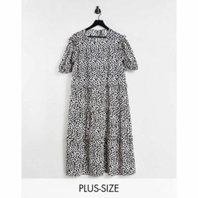 インフルエンス Influence Plus レディース ワンピース Aライン ワンピース・ドレス tiered smock dress in animal print ブラック/ホワ