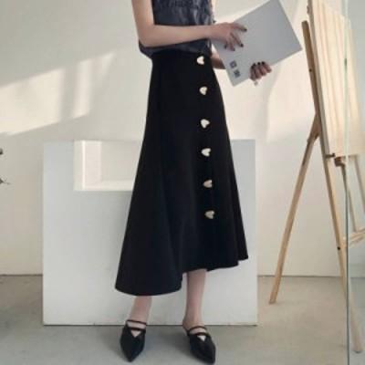 オルチャン 韓国 ファッション スカート レディース 大きいサイズ フレアスカート ロング ハート ハイウエスト 無地 フェミニン 大人可愛