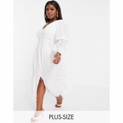 フォーエバーニュー Forever New Curve レディース ワンピース Aライン ワンピース・ドレス tiered sleeve button midaxi dress in ivor
