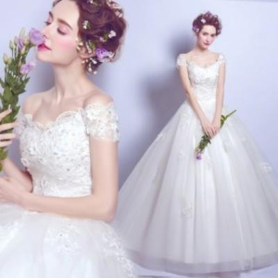 ウェディングドレス ホワイト 白 結婚式 ステージドレス 卒業式 演奏会 パーティードレス 披露宴 司会者 ブライズメイドドレス XS-3XLサ