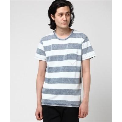 tシャツ Tシャツ インディゴボーダークルーネックポケットTシャツ
