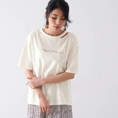 綿100%スリットネックTシャツ オフホワイト S M L LL 3L