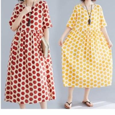 レディース 大きいサイズ 服 L~XL 大きいサイズ レディース ワンピース オレンジ ドット柄 半袖 ゆったりウエスト ミディー丈