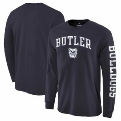 """メンズ Tシャツ """"Butler Bulldogs"""" Fanatics Branded Distressed Arch Over Logo Long Sleeve Hit T-Shirt - Navy"""