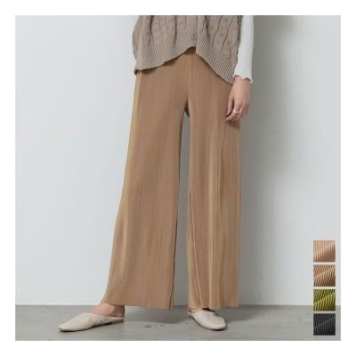 Re:EDIT 旬のプリーツがつくる美しい布流れを楽しむ春ボトム マットプリーツリラックスパンツ パンツ/パンツ グリーン M レディース