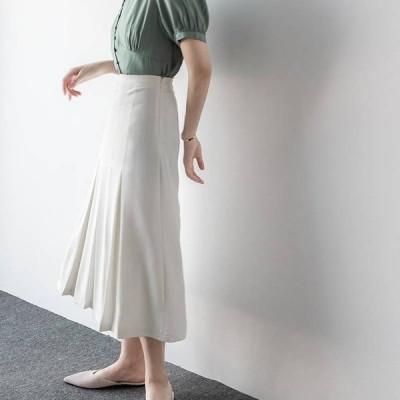 スカート サテンナロースカート サテン ホワイト ネイビー 光沢 上品 艶やか 華やか ロング丈 ファスナー Aライン フレア シンプル おしゃれ 大人 通勤