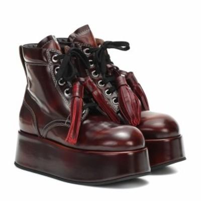 マルニ Marni レディース ブーツ ショートブーツ シューズ・靴 Patent leather platform ankle boots