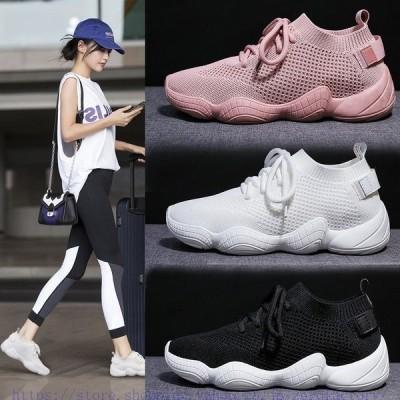 メッシュスニーカーレディースウォーキングシューズスポーツシューズ女性美脚疲れない柔軟シューズ3colorレースアップシューズ運動靴歩きやすい