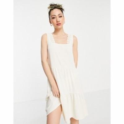 ヴェロモーダ Vero Moda レディース ワンピース Aライン ワンピース・ドレス tiered lace trim mini dress in cream クリーム