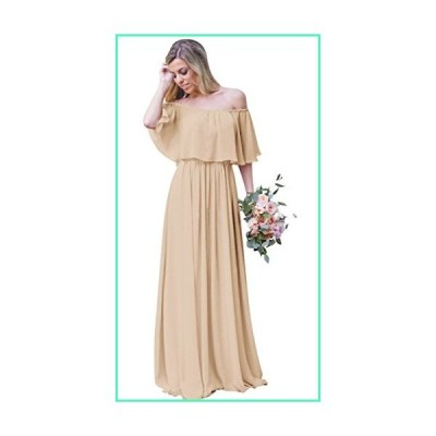 Andybridal Women's Junior 2020 Off The Shoulder Chiffon Long Party Gowns Bridesmaid Dress Champagne 16並行輸入品