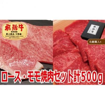【化粧箱入り・最高級A5等級】飛騨牛ロース・モモ焼肉セット計500g