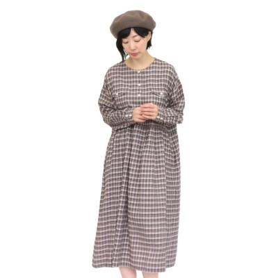 【サンバレー】 綿麻綾織ダブルポケットワンピース レディース グレージュ M SUN VALLEY