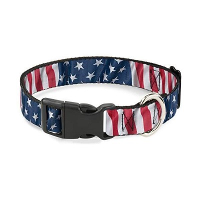 Buckle-Down Cat Collar Breakaway American Flag Vertical Close Up 8 to 12 Inches 0.5 Inch Wide【並行輸入品】