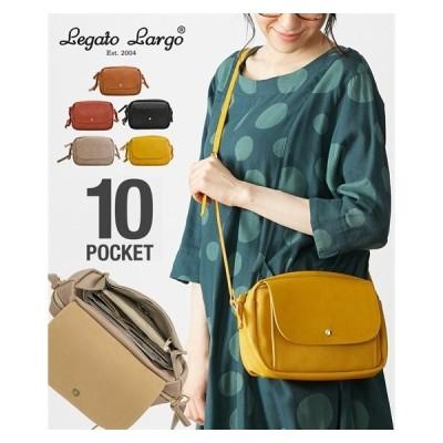 Legato Largo(レガートラルゴ)フェイクレザー10ポケットお財布ショルダーバッグ ( アクアカルダ )