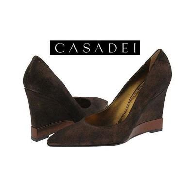 送料無料!新品24.5-25#カサディ CASADEI 本革スエードウエッジパンプス ブラウン イタリア製 italy