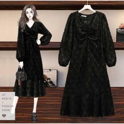 予約商品 大きいサイズ レディース フリンジ ジャガード 長袖 ワンピース バルーン袖 きれいめ オーバーサイズ 韓国ファッション ビッグ