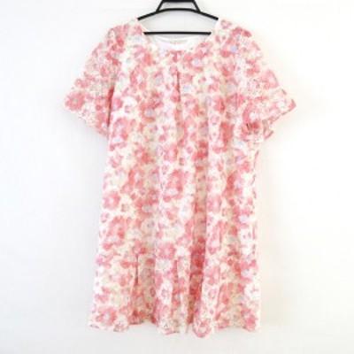 ローズティアラ Rose Tiara サイズ50 XL レディース - 白×レッド×マルチ クルーネック/半袖/ひざ丈/花柄【中古】20210512
