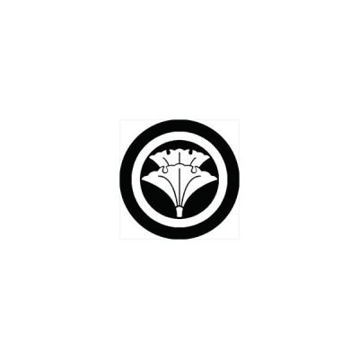 家紋シール 丸に重ね銀杏紋 直径4cm 丸型 白紋 4枚セット KS44M-0637W