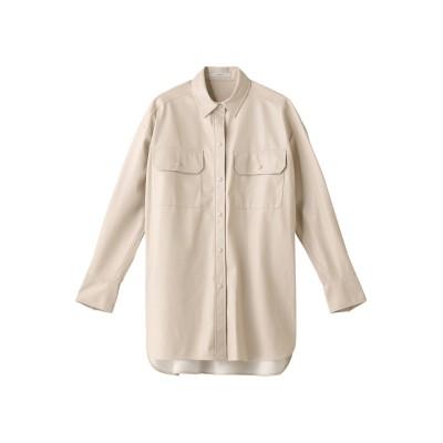 ANAYI アナイ フェイクレザーロングシャツ レディース アイボリー 38