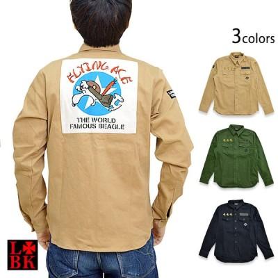 ロウブロウナックル×スヌーピー FLYING ACEミリタリー長袖シャツ ロウブロウナックル 530405 刺繍 ウッドストック
