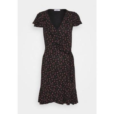 レディース ファッション ONLVALENTINA FIXED WRAP DRESS - Jersey dress - black/ditsy