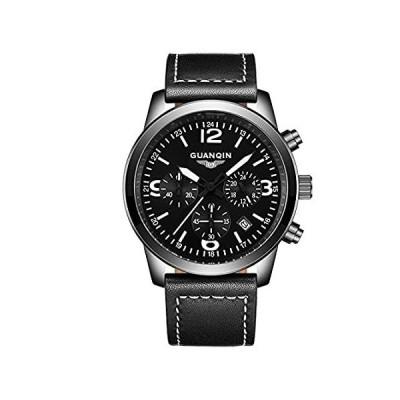 GUANQINクオーツメンズ腕時計ラウンドレザーストラップ光腕時計Militaryスタイルgs19037