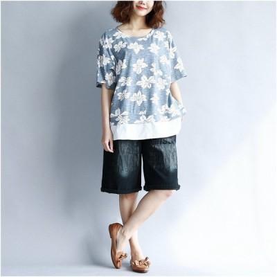 トップス レディース カットソー Tシャツ きれいめ ゆったり 半袖 夏 大きいサイズ 体型カバー 着やせ ひざ丈