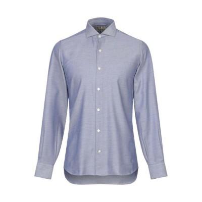 DOMENICO TAGLIENTE 柄入りシャツ  メンズファッション  トップス  シャツ、カジュアルシャツ  長袖 ブルー