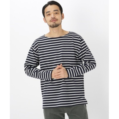 BASESTATION / ボートネック ボーダー 長袖 Tシャツ MEN トップス > Tシャツ/カットソー