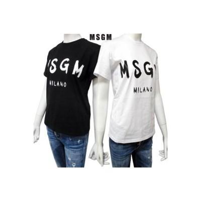 エムエスジーエム MSGM レディース トップス Tシャツ 半袖 ロゴ 2color フロントMSGMグラフィティロゴ入りTシャツ 白/黒 (R16500)  91A