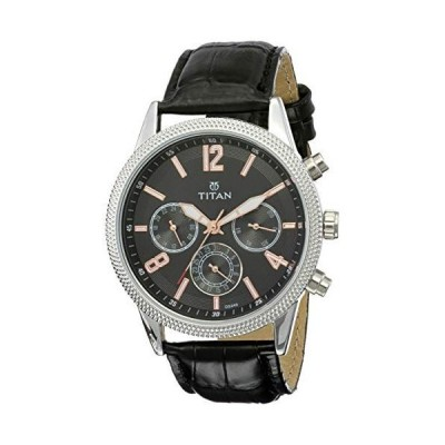 Titan Men's Neo Analog-Quartz Watch with Leather Calfskin Strap, Black, 22 (Model: 1734SL02) 並行輸入品