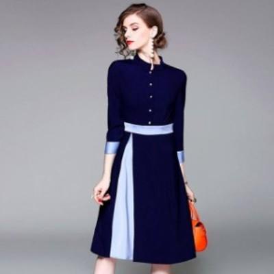 オルチャン 韓国 ファッション ワンピース ひざ丈 パーティードレス フレア ハイウエスト バイカラー 上品 お呼ばれ 二次会 フォーマル
