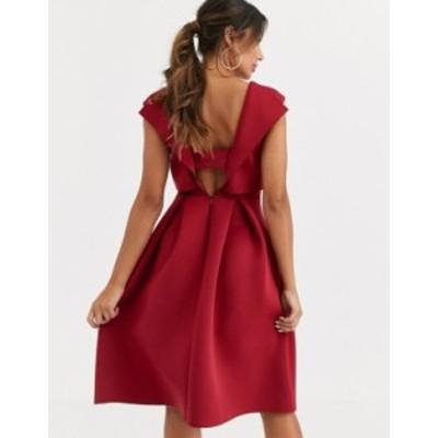 エイソス レディース ワンピース トップス ASOS DESIGN fold back crop top midi prom dress Oxblood