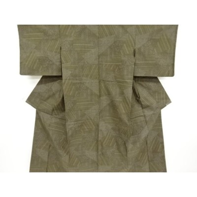 リサイクル 未使用品 幾何学に抽象花模様織り出し本場結城紬80亀甲着物(石下)