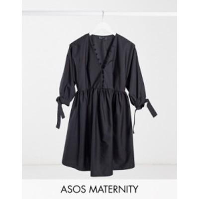 エイソス レディース ワンピース トップス ASOS DESIGN Maternity cotton poplin button neck mini smock dress with tie sleeves in bla