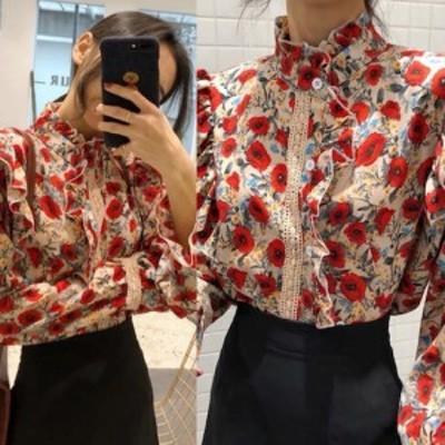ブラウス レディース トップス ドルマン ドルマンスリーブ バルーン袖 ゆったり 大きいサイズ  ハイネック 花柄