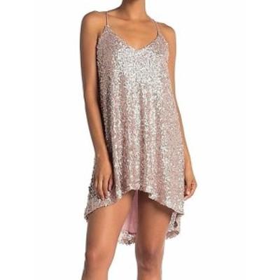 NSR エヌエスアール ファッション ドレス NSR Womens Sequin Hi-Lo Slip Mesh Pink Size Small S Shift Dress