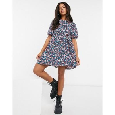 エイソス レディース ワンピース トップス ASOS DESIGN short sleeve smock mini dress in floral