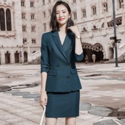 スーツ レディース フォーマル 入学式 卒業式 スーツ スカートスーツ 大きいサイズ 2点セット Wジャケット 無地 シンプル オフィス フォ
