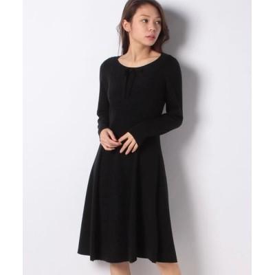 MISS J/ミス ジェイ ソフトシャギーヤーン×ウール ニットドレス ブラック 40