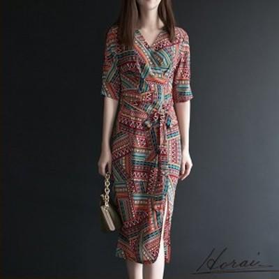 ドレス 五分袖 ミディ丈 Vネック 幾何学模様 ワンピース スカート 新作 デート おしゃれ 買い物 20代 30代 40代 【お取り寄せ】