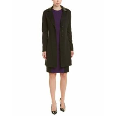 ファッション 衣類 St. John Leather-Trim Wool Coat